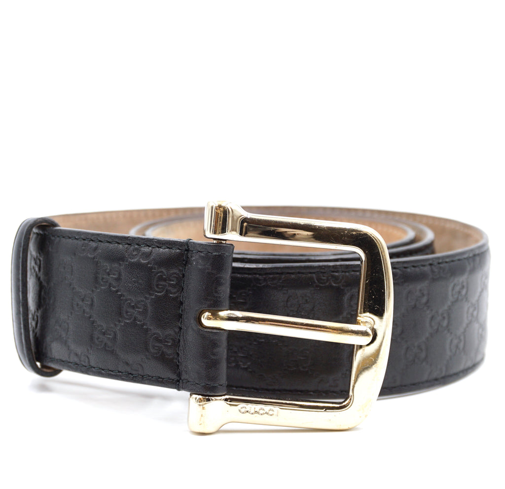 Gucci Black Gold Buckle Leather Size 90/36 Belt