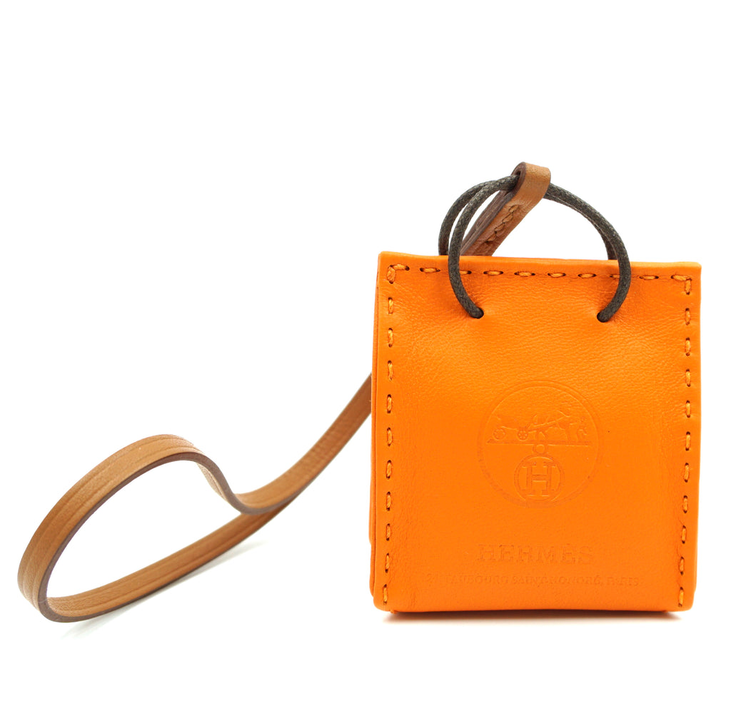 Hermès Orange Shopping Bag Milo Lambskin Swift Mini Feu Gold Charm
