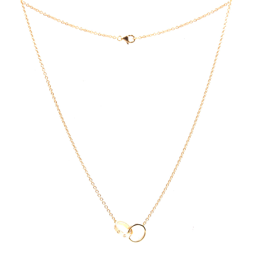 Cartier Rose Gold 18k 750 Love Double Mini Ring Charms Necklace