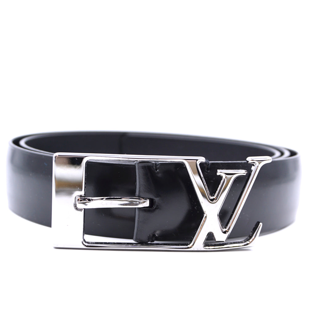 Louis Vuitton Black LV Logo Silver Buckle Leather Belt Size 95