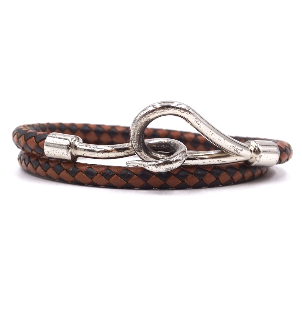 Hermès Jumbo Double Tour Hook Wove Leather Bracelet