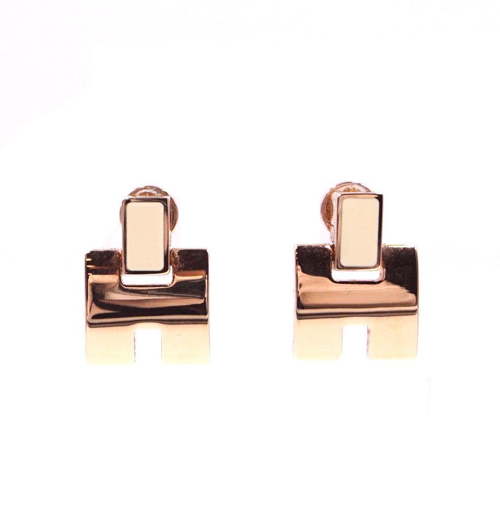 Hermès Irene H Rose Gold Enamel Earrings
