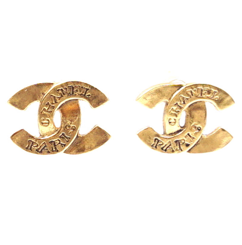 Chanel Gold CC Engraved Hammered Stud Earrings