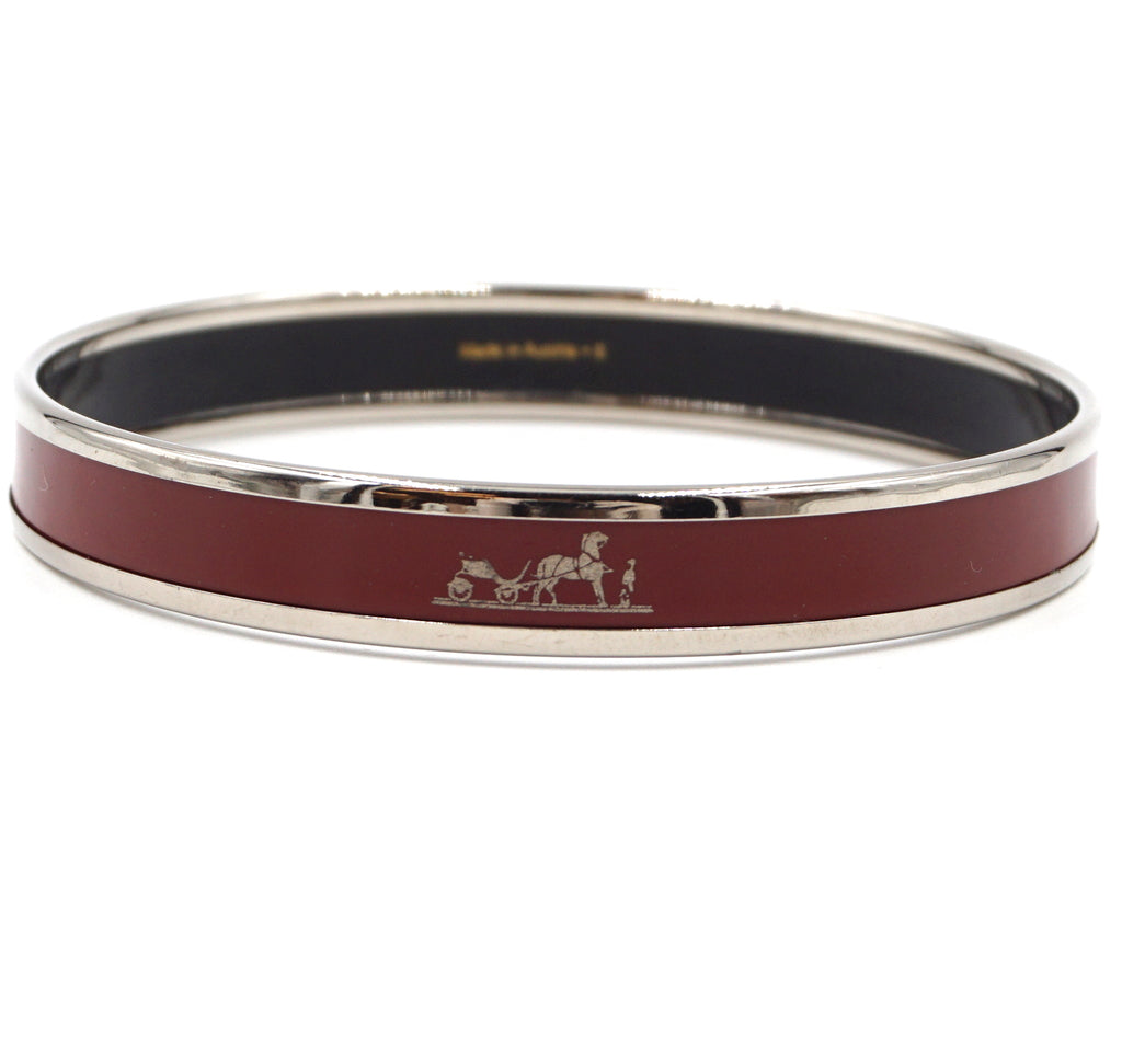 Hermès Silver Red Enamel Skinny Bangle