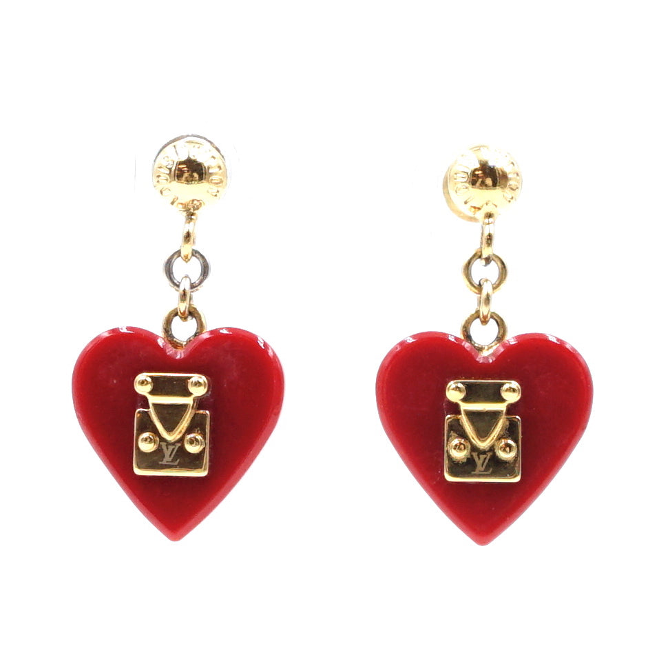 Louis Vuitton Gold Red Lock Me Heart Pomme D'amour Earrings