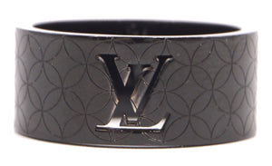 Louis Vuitton Black Lv Logo Cutout Wide Band 9mm Ring