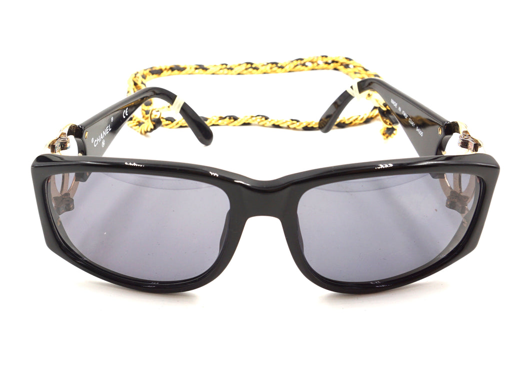 Chanel Black Gold Chain Celebrity Sunglasses