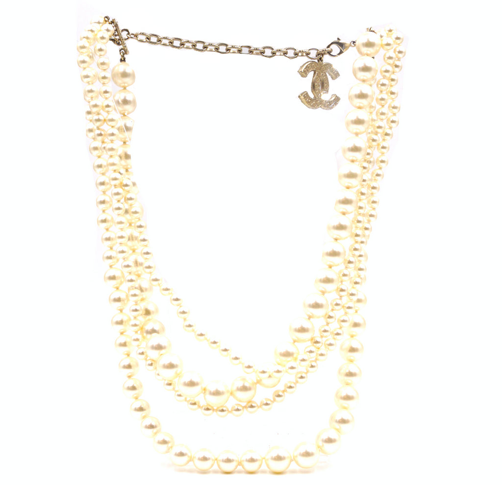 Chanel CC Five Strands Pearl Multi Chain Charm Necklace