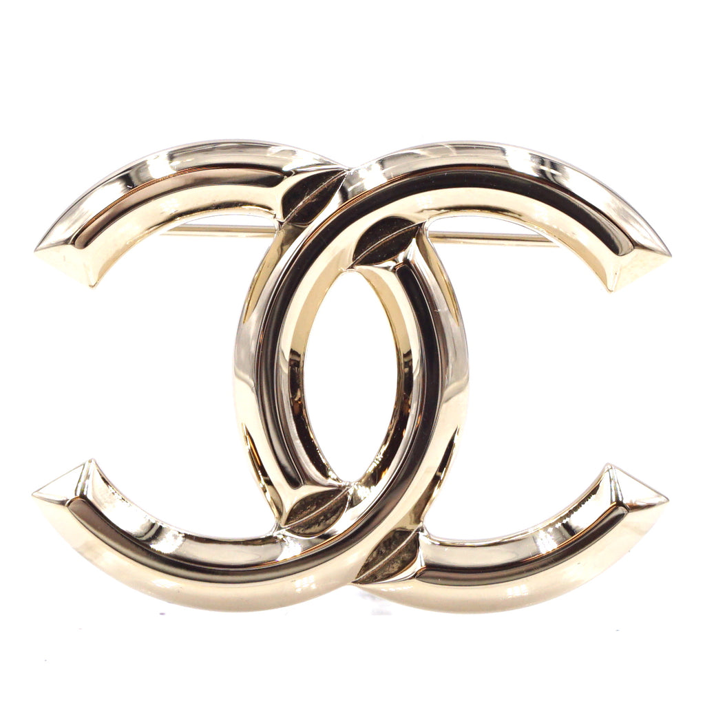 Chanel Champagne Gold Timeless CC Brooch