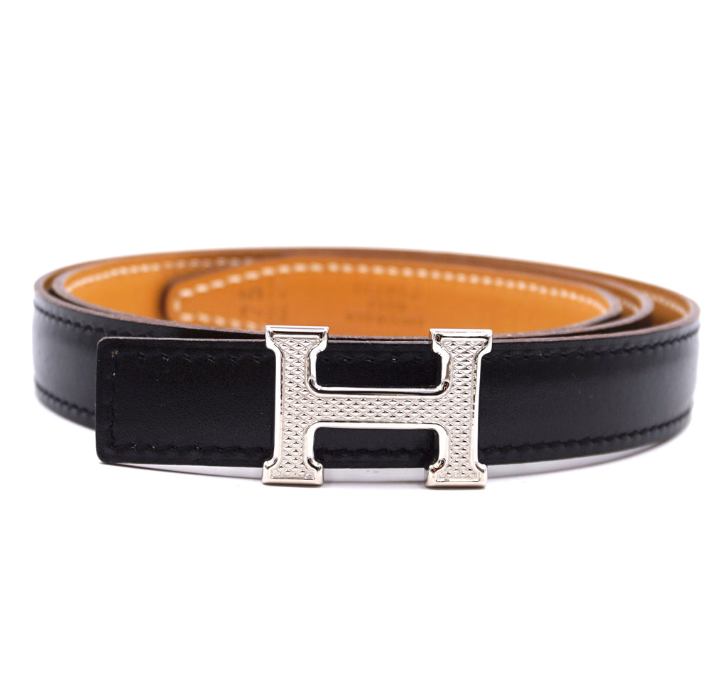 Hermès 18mm Silver Guilloche H Reversible Leather Belt Size 75