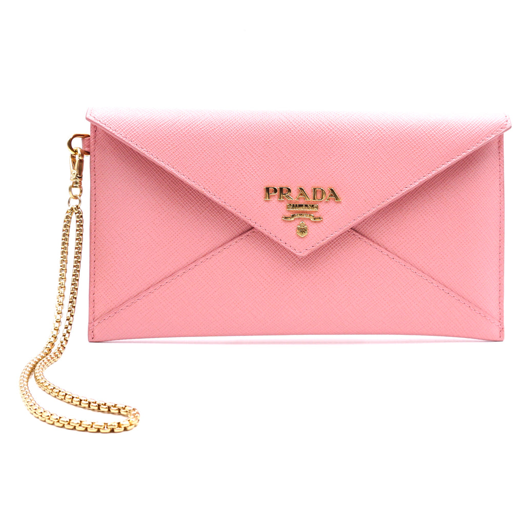 Prada Pink Envelope with Gold Chain Strap Wallet