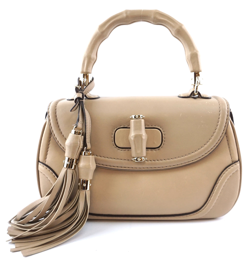 Gucci New Bamboo Satchel Convertible Medium Beige Leather