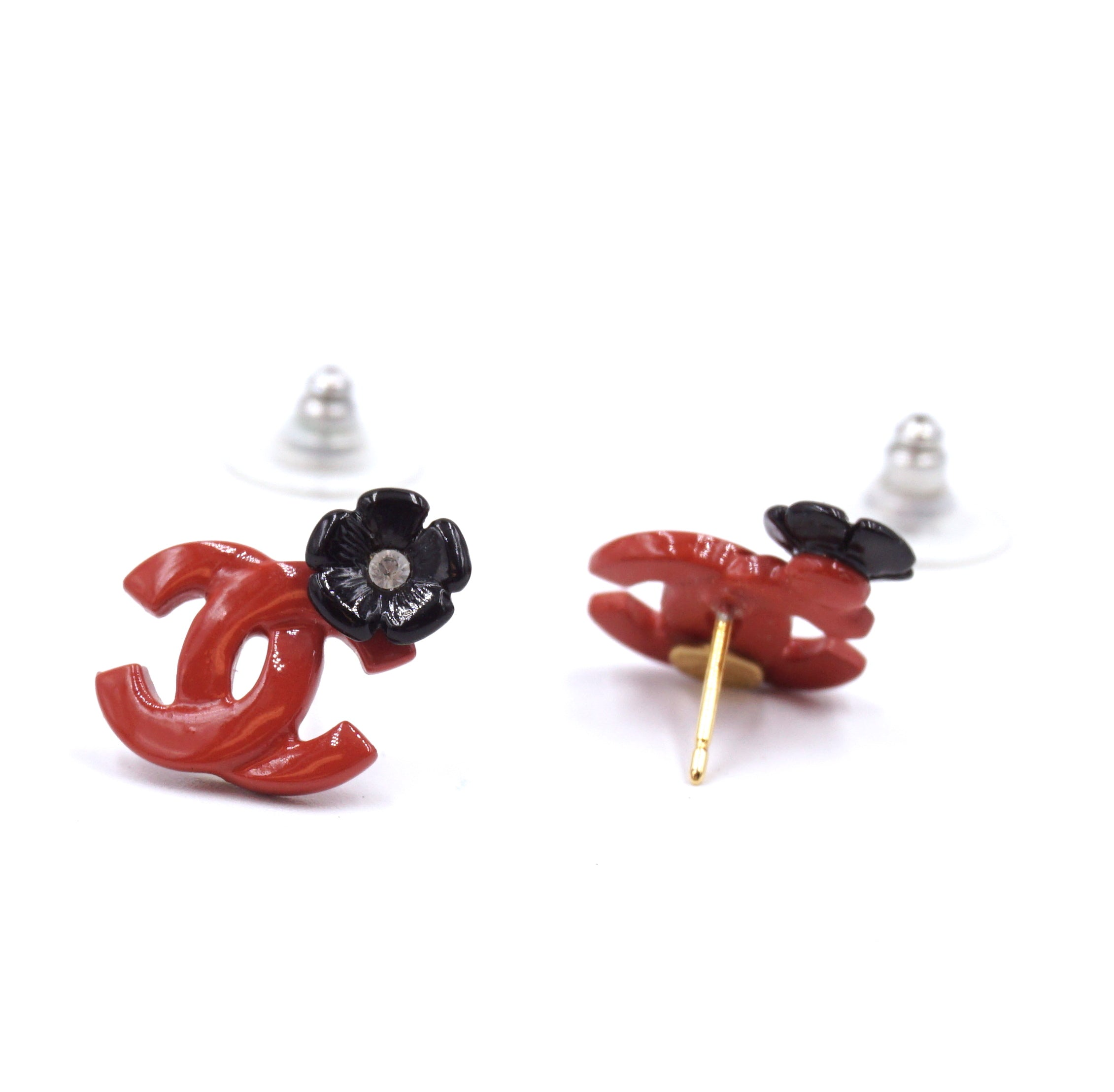 Chanel Chilli Red CC Flowers Mini Crystals Gold Earrings