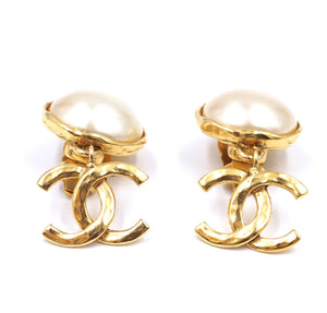 Chanel Gold CC Drop Logo Pearl Clip On Earrings