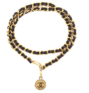 Chanel CC Long Leather Chain Belt Hammered Charm Necklace