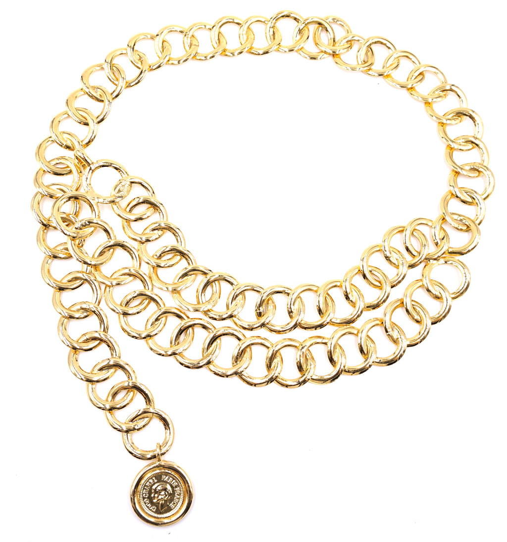 Chanel Gold CC Double Chain Medallion Chain Belt/ Necklace