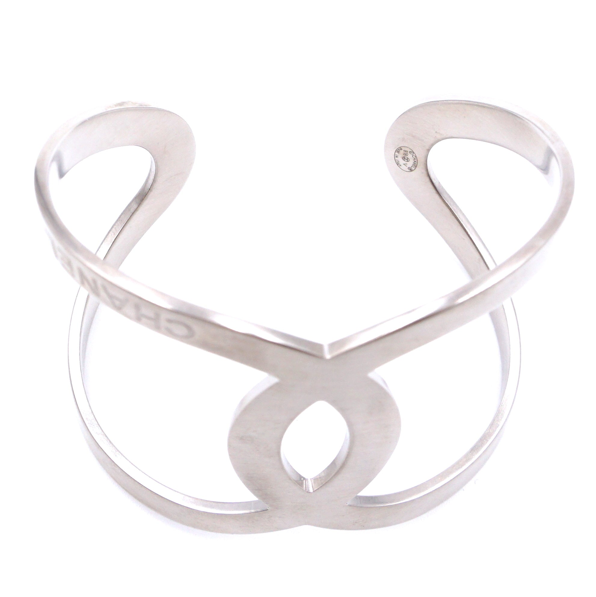 Chanel Silver Large Wide CC Cutout Cuff