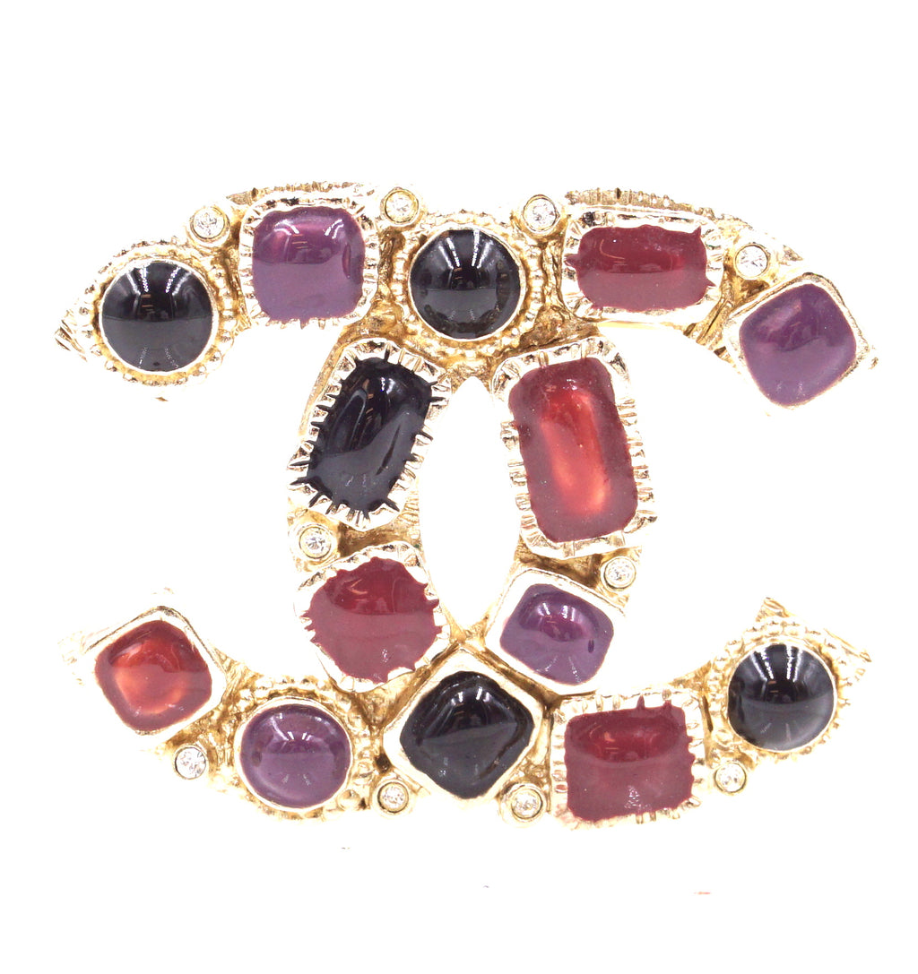 Chanel Gold Multicolors Gripoix Rhinestons CC Brooch