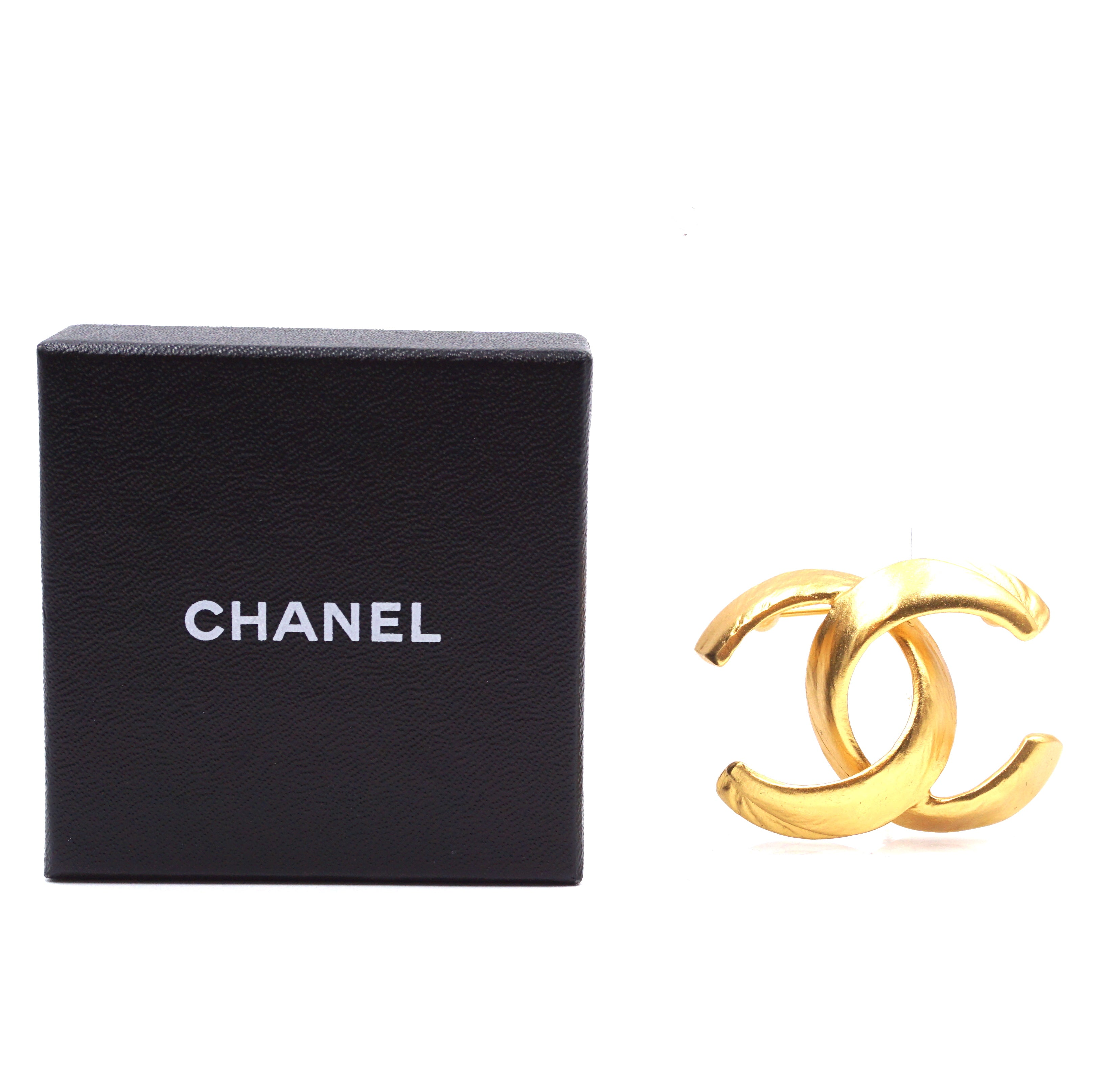 Chanel Gold CC Interlocking Hardware Brooch