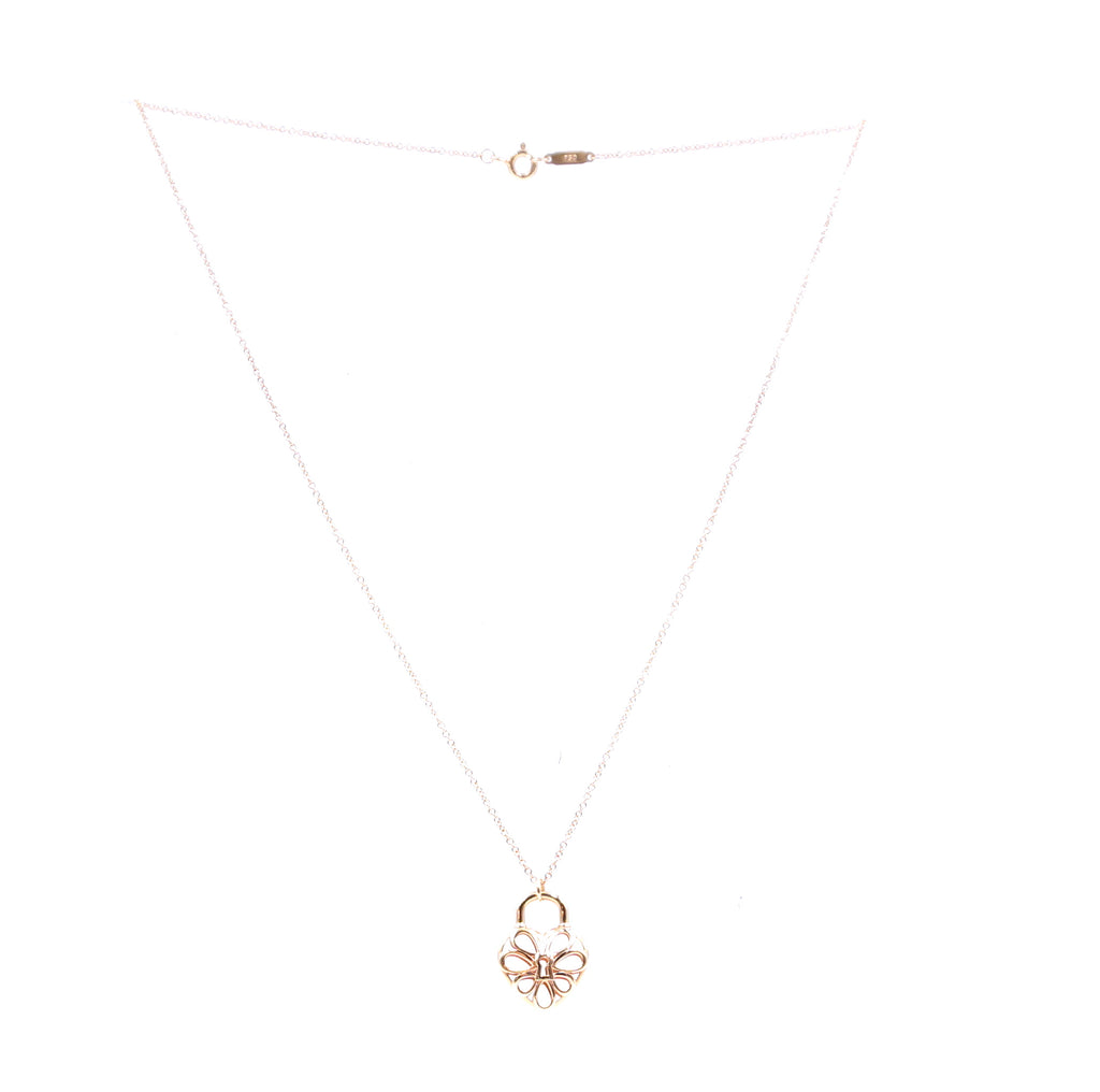 Tiffany & Co. 18k 750 Rose Gold Heart Lock Necklace