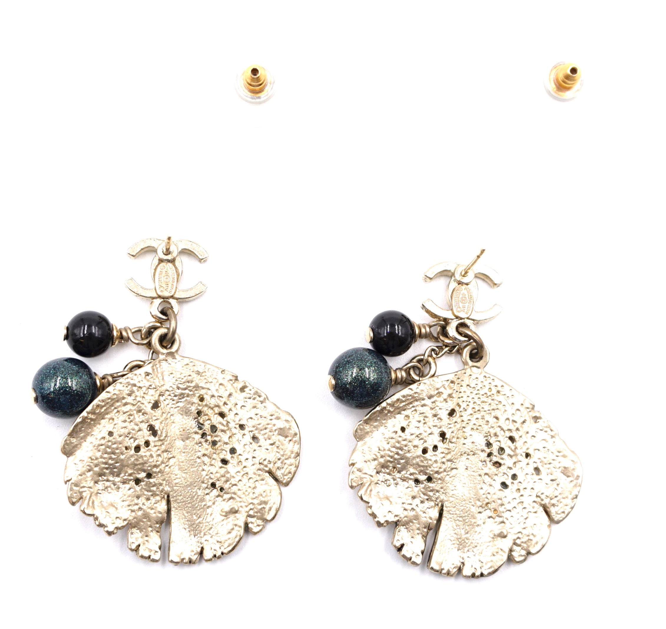 Chanel Gold CC Pearls See Shell Dangle Earrings