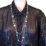 Chanel Pearls CC Star Multicolor Silver Double Strand Long Necklace