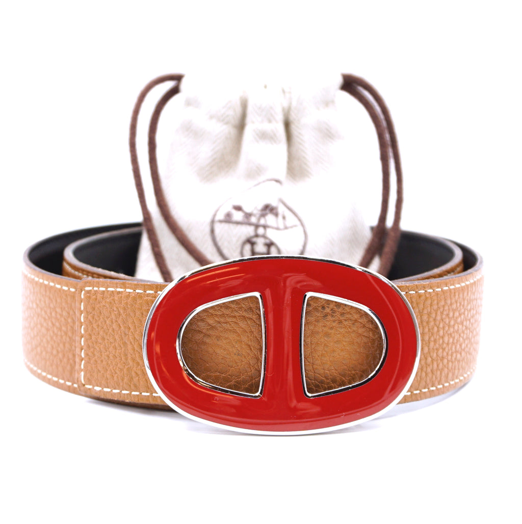 Hermès 32mm Chaine D'ancre Enamel Buckle Reversible Leather Size 75 Belt