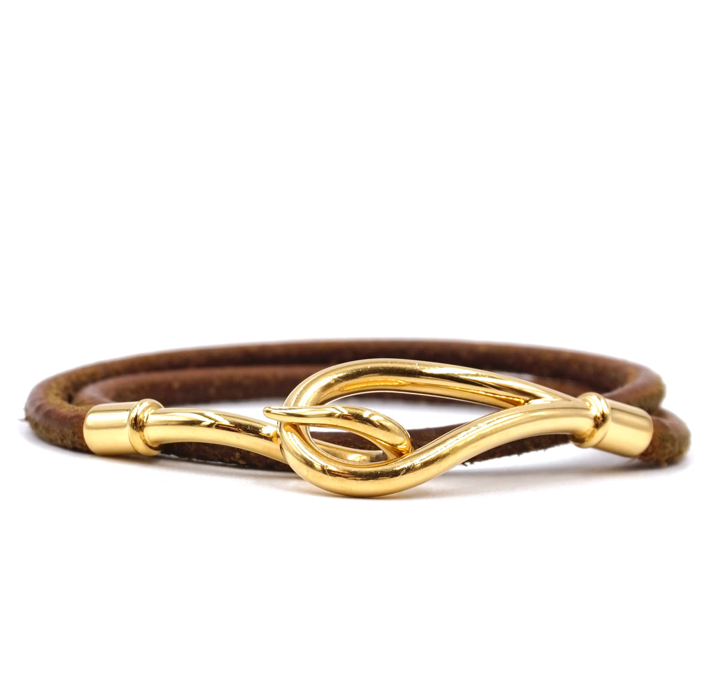 Hermès Jumbo Double Tour Hook Brown Gold Leather Bracelet