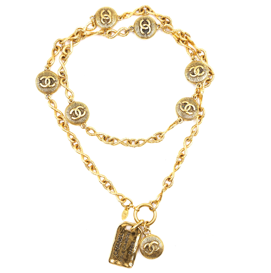 Chanel Gold Sunburst CC Medallion Charms Necklace