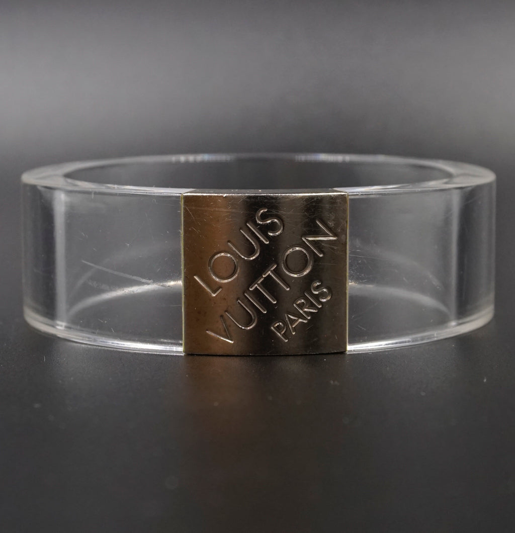 Louis Vuitton Clear Resin Silver Logo Bracelet