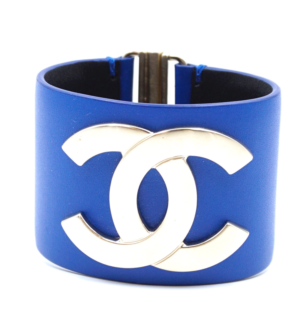 Chanel Gold Blue CC Glide Lock Leather Bangle