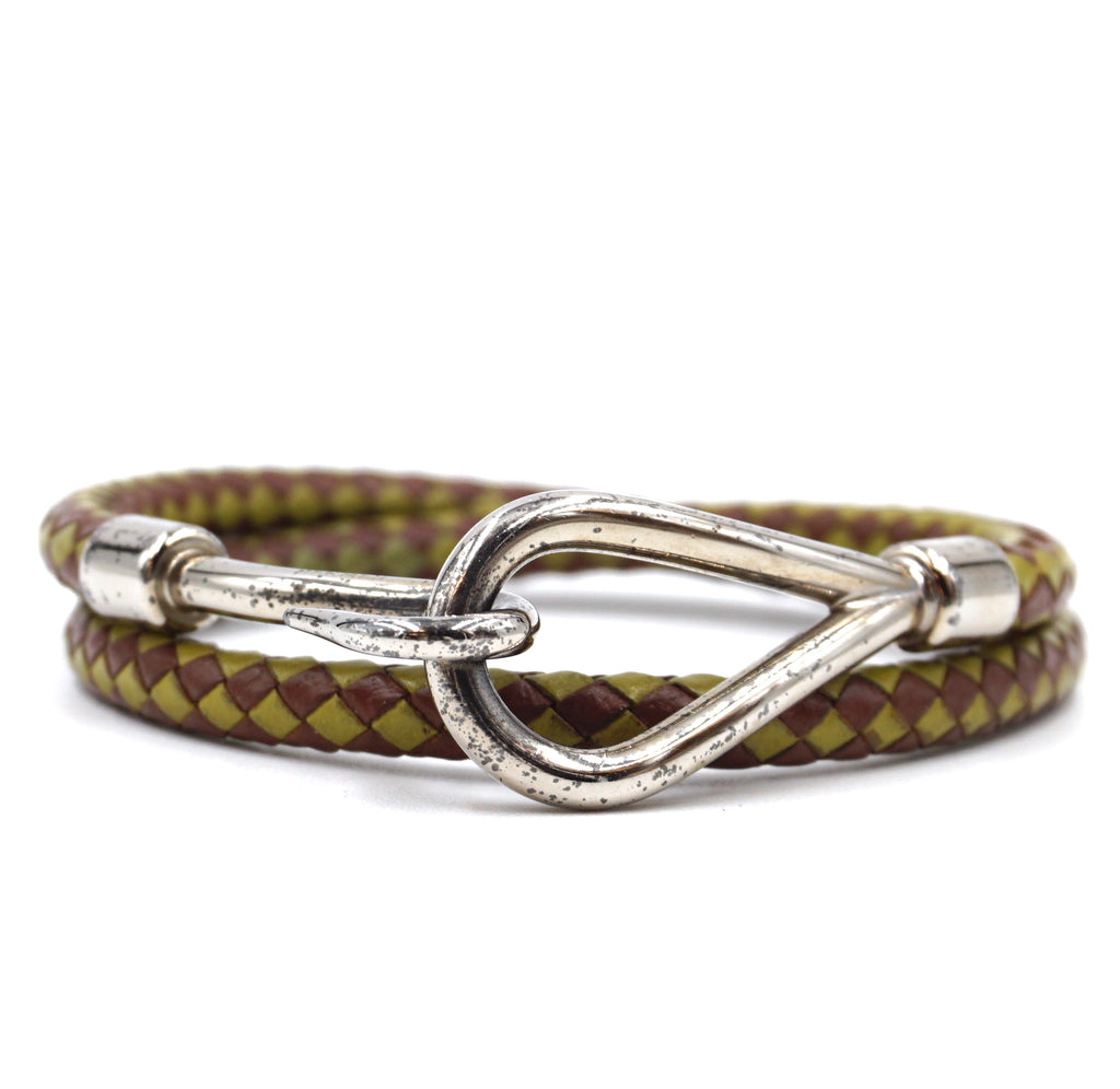 Hermès Double Tour Hook Wove Green Brown Silver Leather Bracelet