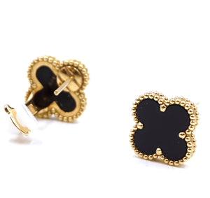 Van Cleef & Arpels 18k Black Onyx Vintage Alhambra Earrings