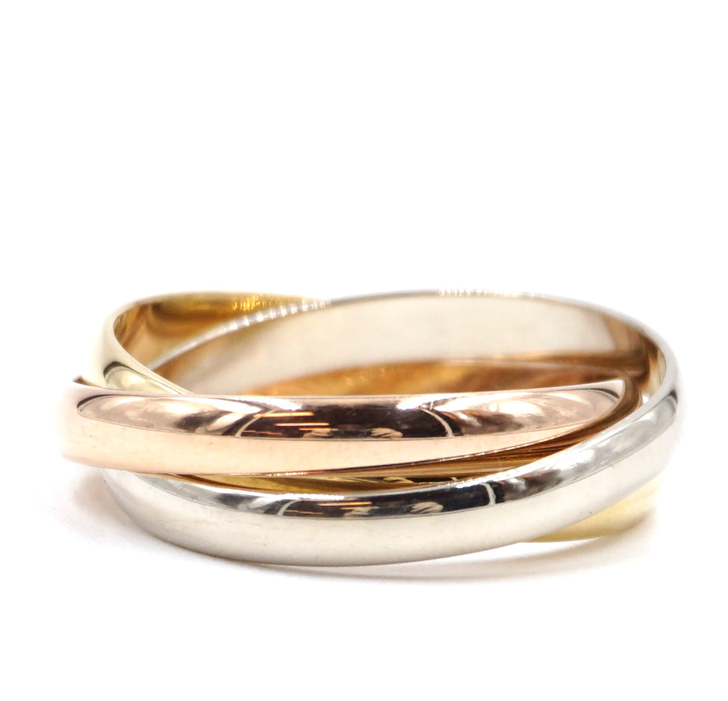 Cartier 18k 750 Tricolor Trinity Ring Size 54