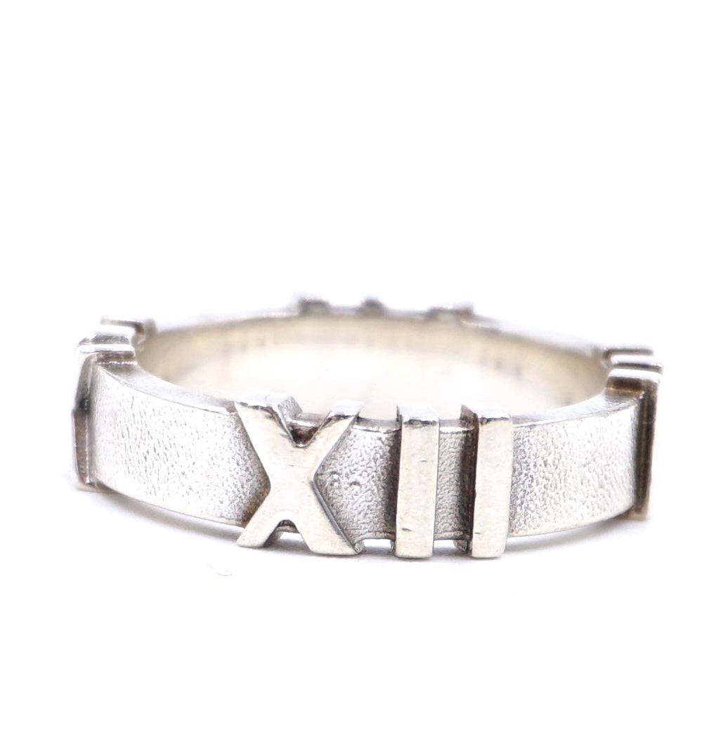 Tiffany & Co. Silver Roman Sterling 925 Atlas Us Numerals Ring