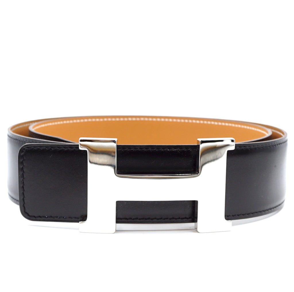 Hermès 42mm Silver H Reversible Leather Belt Size 90