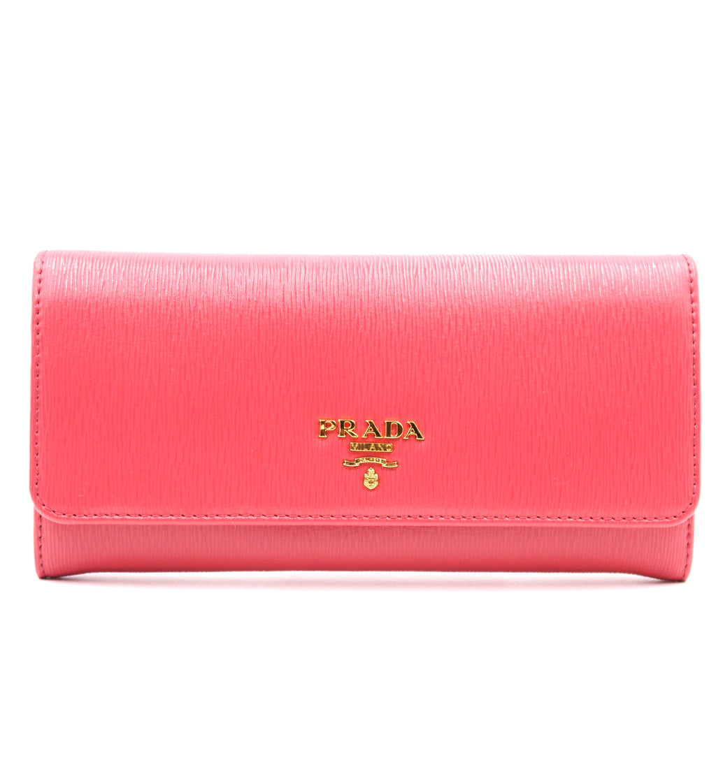 Prada Pink Saffiano Long Flap with Chain Album Wallet