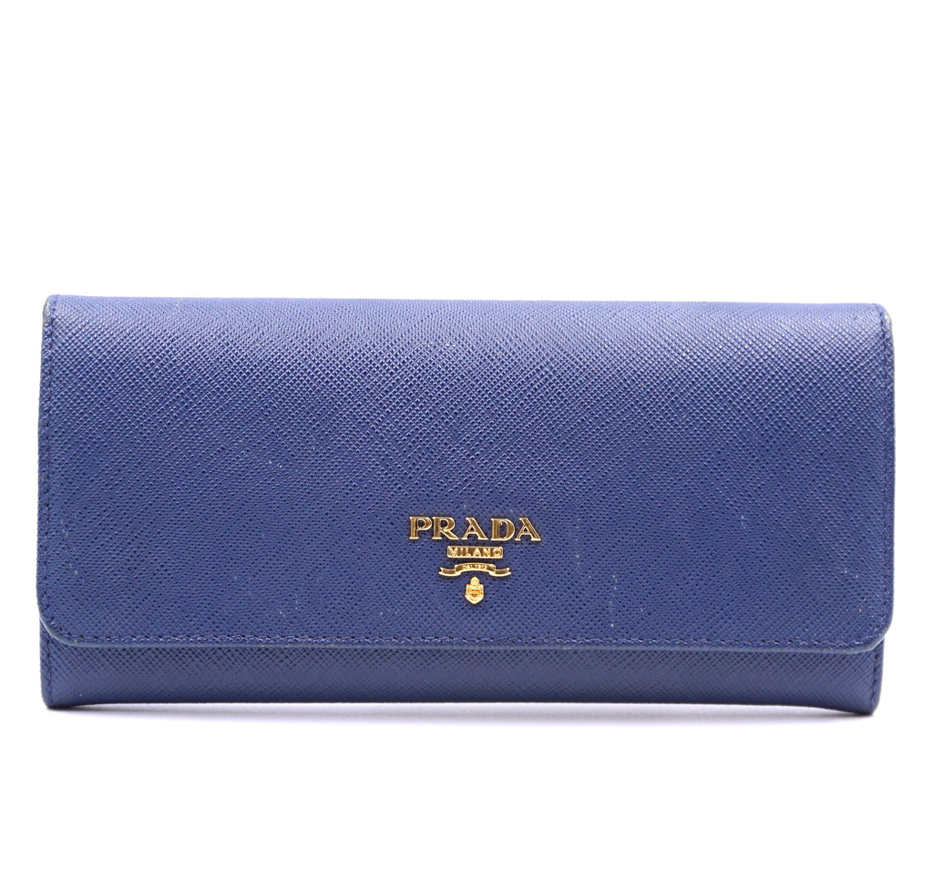 Prada Blue Saffiano Long Flap with Chain Album Wallet