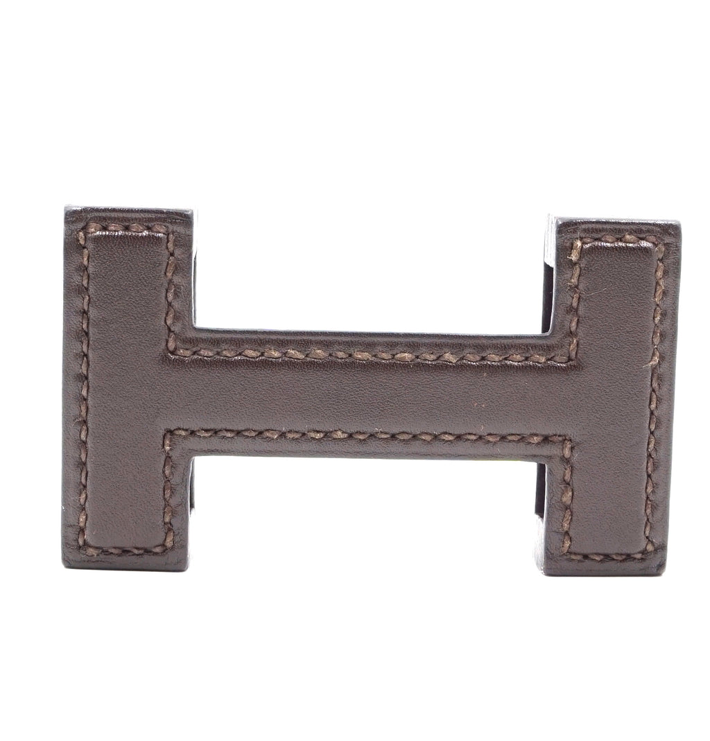 Hermès 32mm H Logo Brown Wood and Leather Buckle