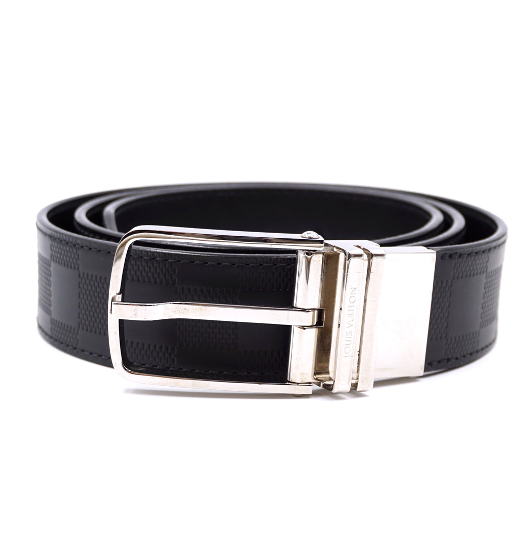 Louis Vuitton Silver Buckle Damier Infini Leather Belt Size 95/38