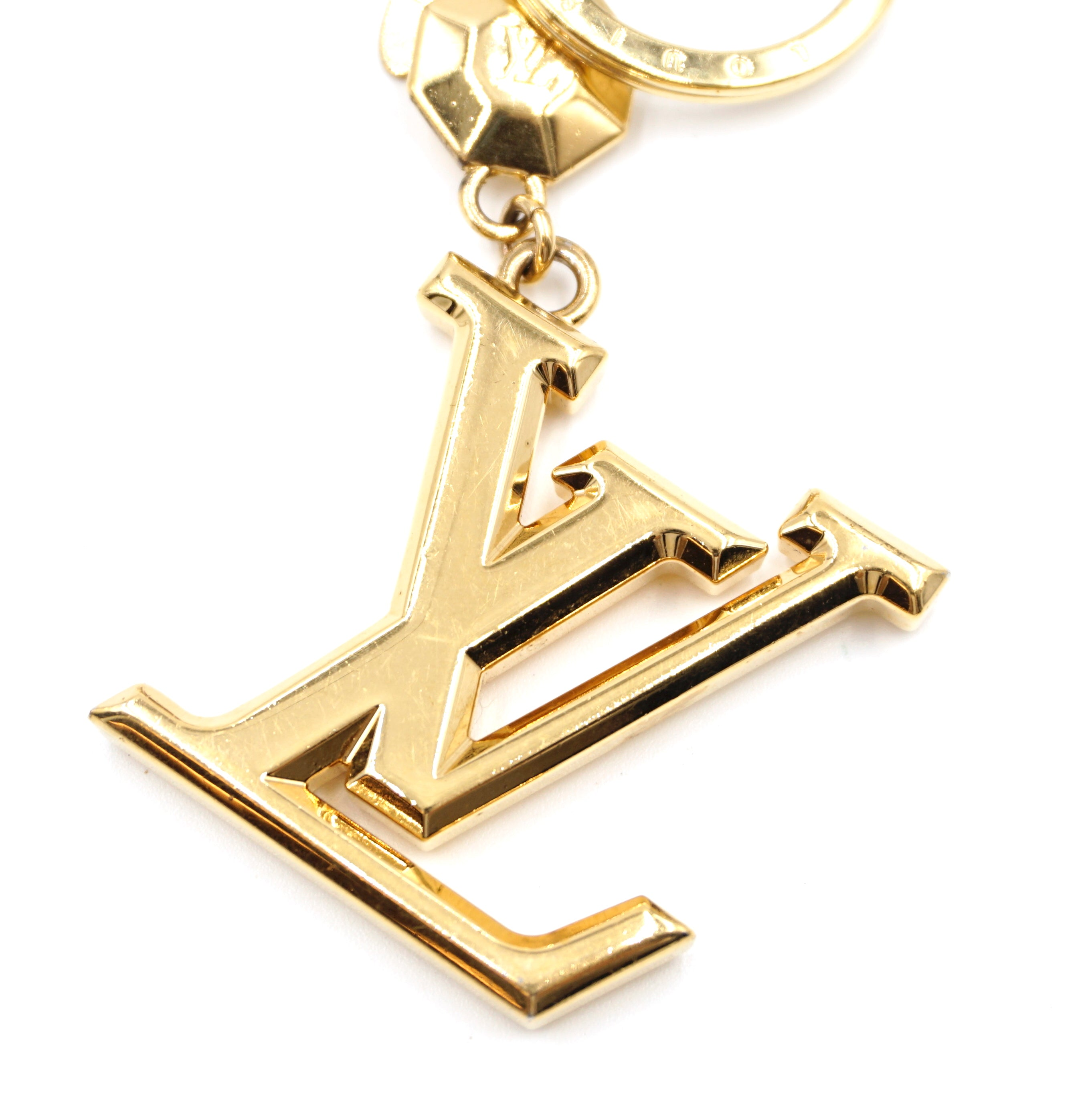 Louis Vuitton Gold Signature LV Key Ring Charm