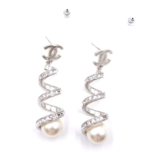 Chanel Silver CC Spiral Crystals Pearl Earrings