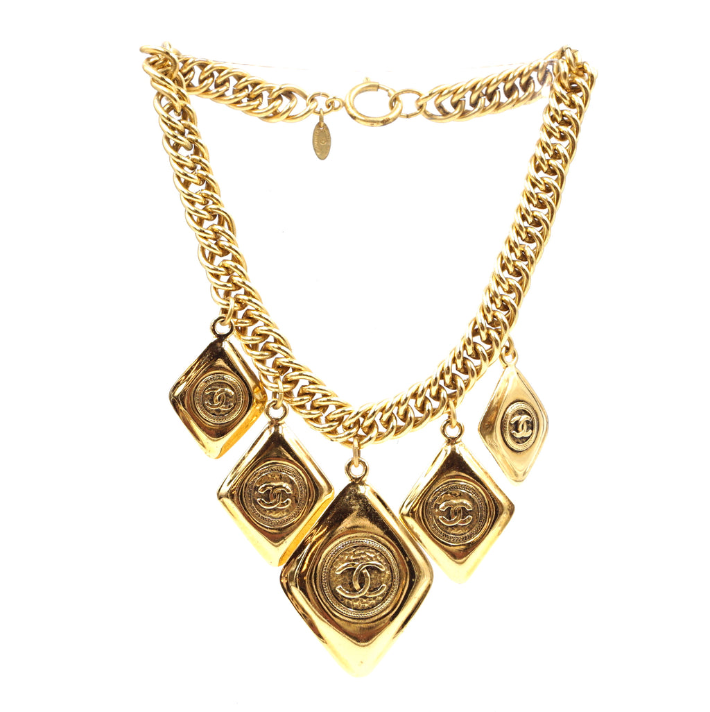 Chanel Vintage Gold CC Diamond Shape Charm Necklace
