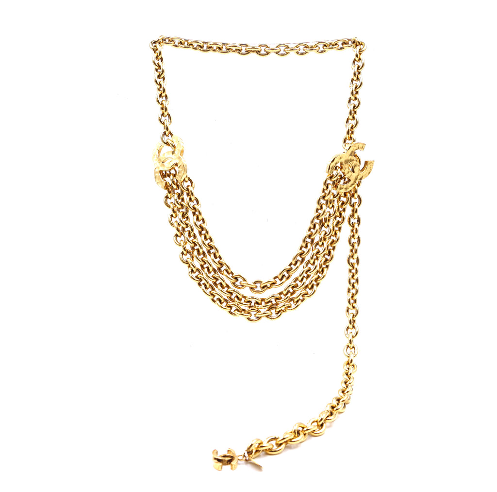 Chanel Gold Hammered CC Double Chain Long Necklace/Belt