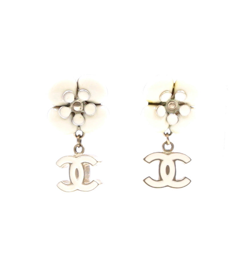 Chanel Gold White CC Flower Drop Dangle Earrings