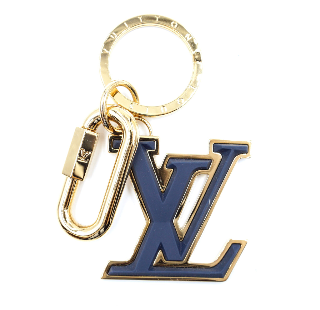 Louis Vuitton Navy Monogram LV Logo Gold Key Ring Charm