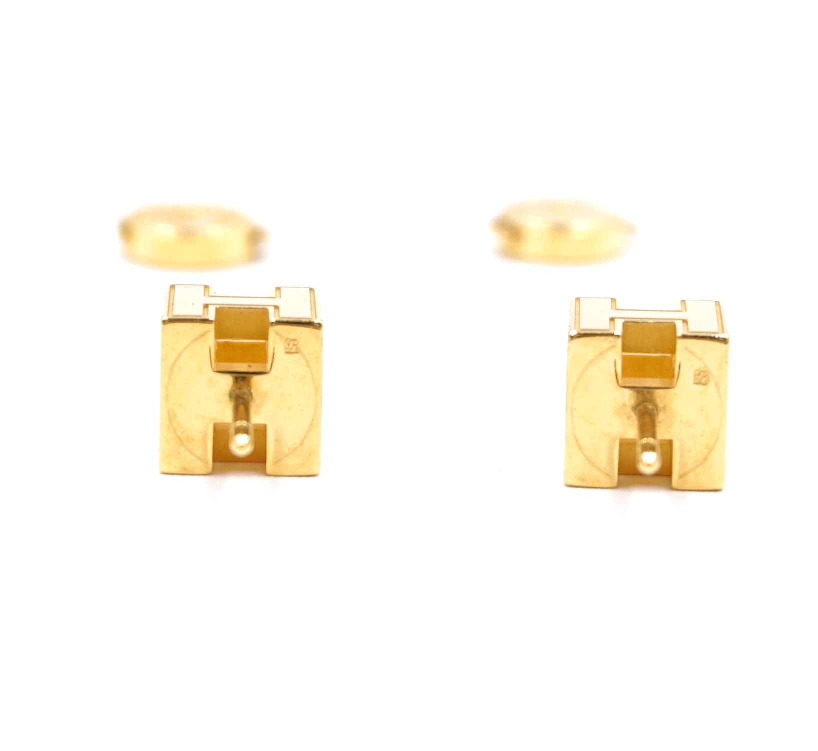 Hermès Orange Gold Pop H Cube Stud Earrings