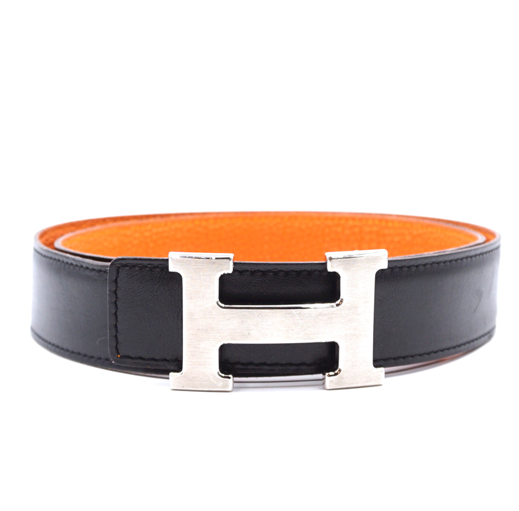 Hermès 32mm Silver H Reversible Leather Size 90 Belt