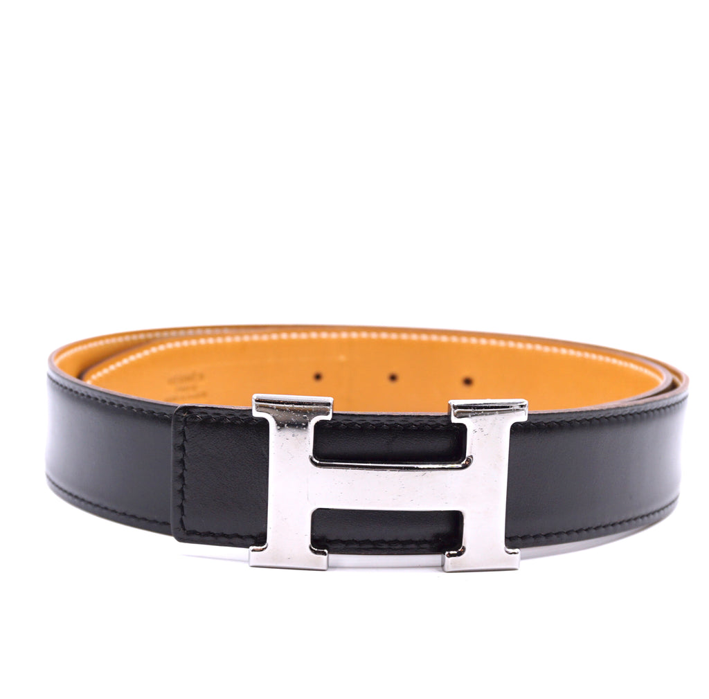 Hermès 32mm Silver H Reversible Leather Size 80 Belt