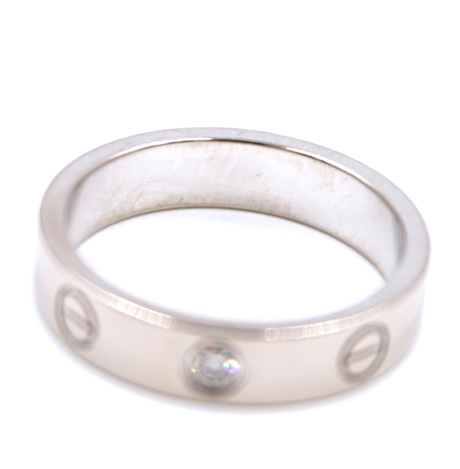 Cartier White Gold 18k 750 1p Diamond Love Ring Size 49